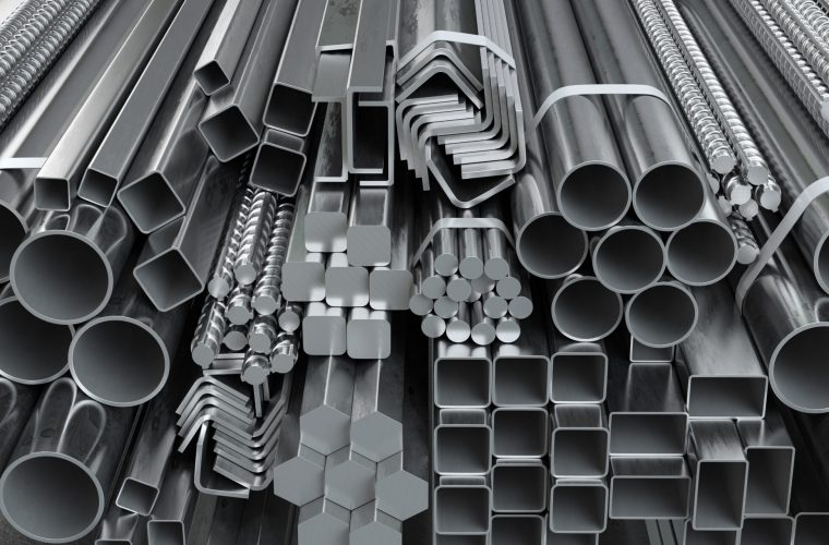 Different metal rolled products. Stainless steel profiles and tubes. in warehouse background. 3d illustration